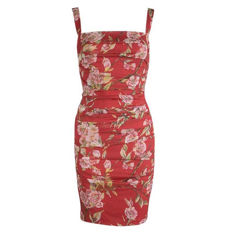 2191cd0f ... Dolce And Gabbana Red Silk Floral Print Ruched Sleeveless Dress S.  nextprev. prevnext