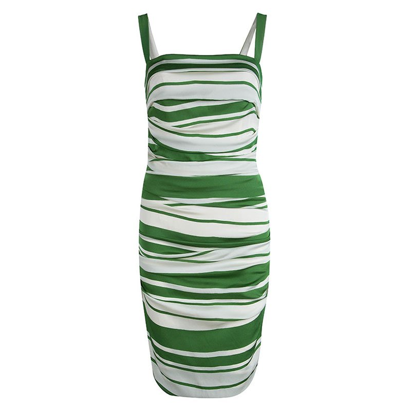 c69eaa10 ... Dolce and Gabbana Green and White Striped Silk Ruched Sleeveless Dress  M. nextprev. prevnext