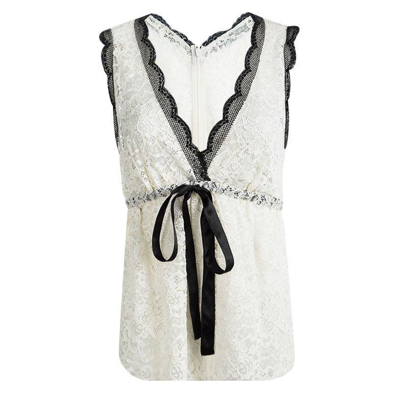 6ec71b26b6beaa ... Dolce and Gabbana Cream Lace Waist Tie Detail Sleeveless Top M.  nextprev. prevnext