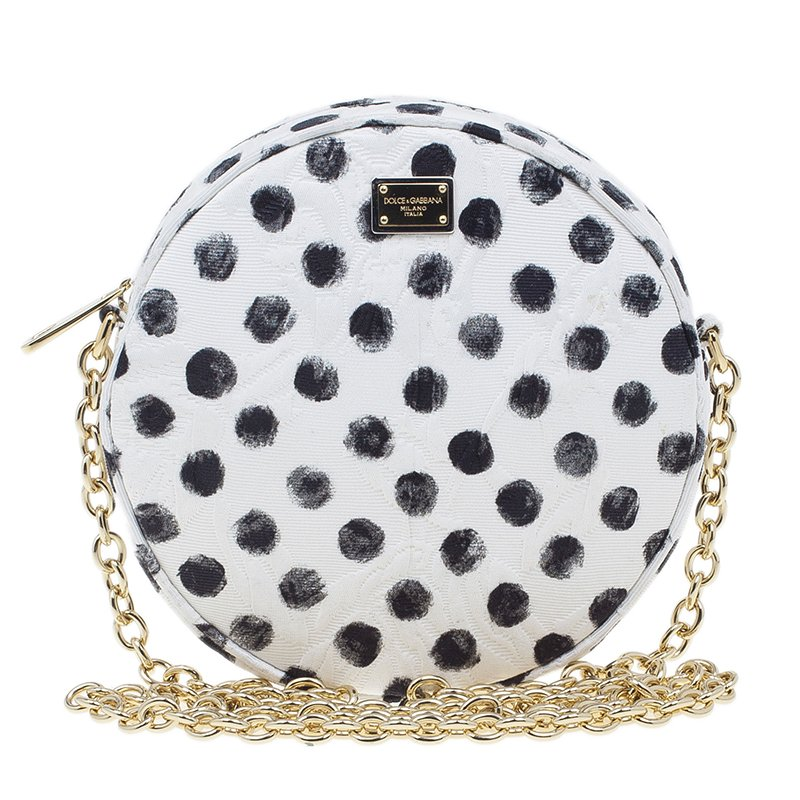 ... Dolce and Gabbana Graphic Polka Dot Fabric Brocade Round Glam Crossbody.  nextprev. prevnext 0723aae8274e5