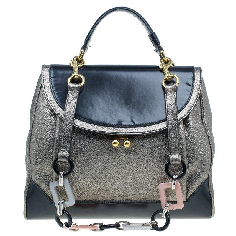 b330af963685 ... Dolce and Gabbana Metallic Silver Black Leather Miss Babette Shoulder  Bag. nextprev. prevnext