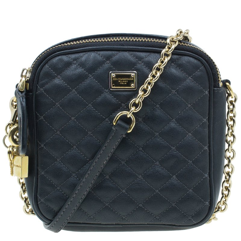 986ca49fb9 ... Dolce and Gabbana Black Quilted Leather Glam Crossbody Bag. nextprev.  prevnext