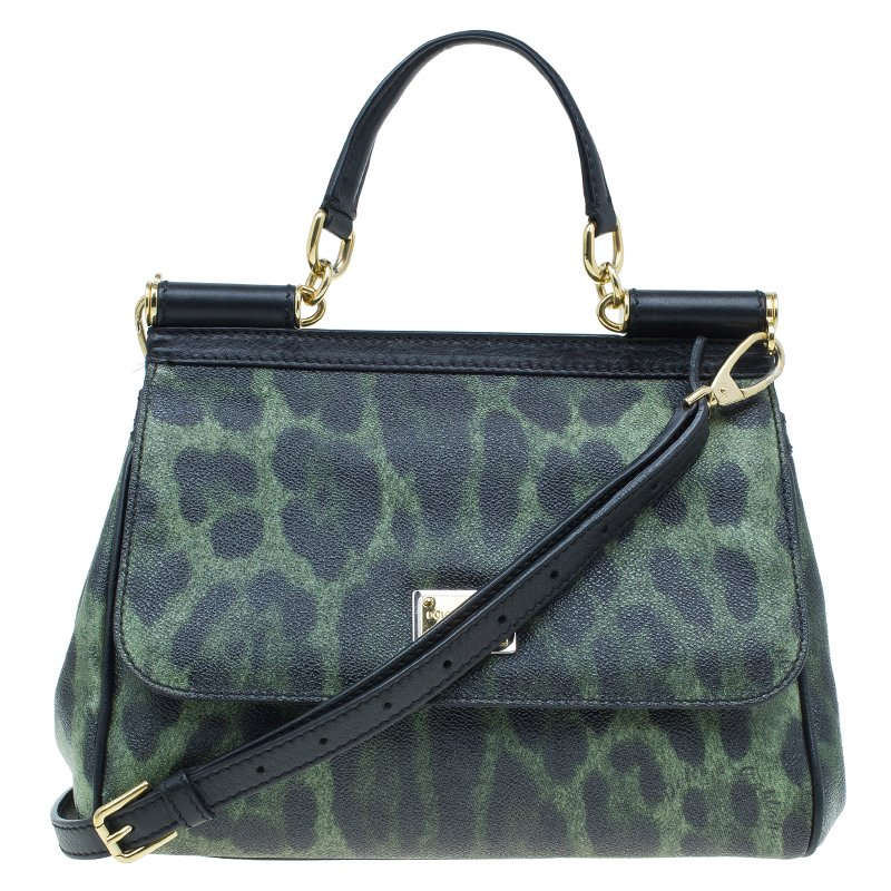 7541871c5cb3 ... Dolce and Gabbana Green Leopard Print Leather Medium Miss Sicily Tote  Bag. nextprev. prevnext