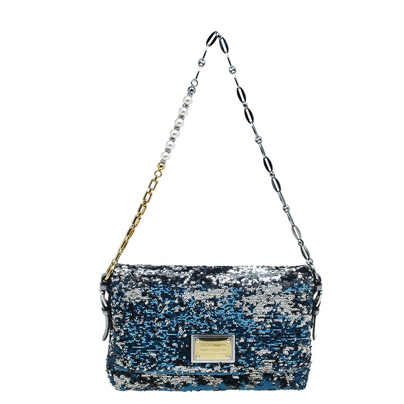 e12539495c ... Dolce and Gabbana Blue Silver Sequin Miss Charles Shoulder Bag.  nextprev. prevnext