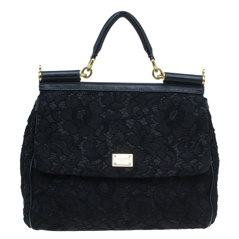 3e7d1b25e5 ... Dolce and Gabbana Black Lace and Leather Medium Miss Sicily Bag.  nextprev. prevnext