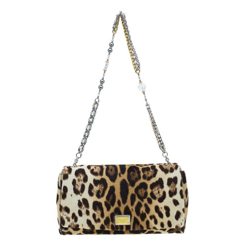 Dolce and Gabbana Brown Leopard Print Pony Hair Charles Shoulder Bag
