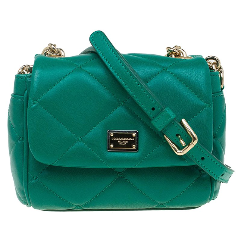 ... Dolce and Gabbana Green Quilted Leather Mini Kate Crossbody Bag.  nextprev. prevnext 97452c3894298