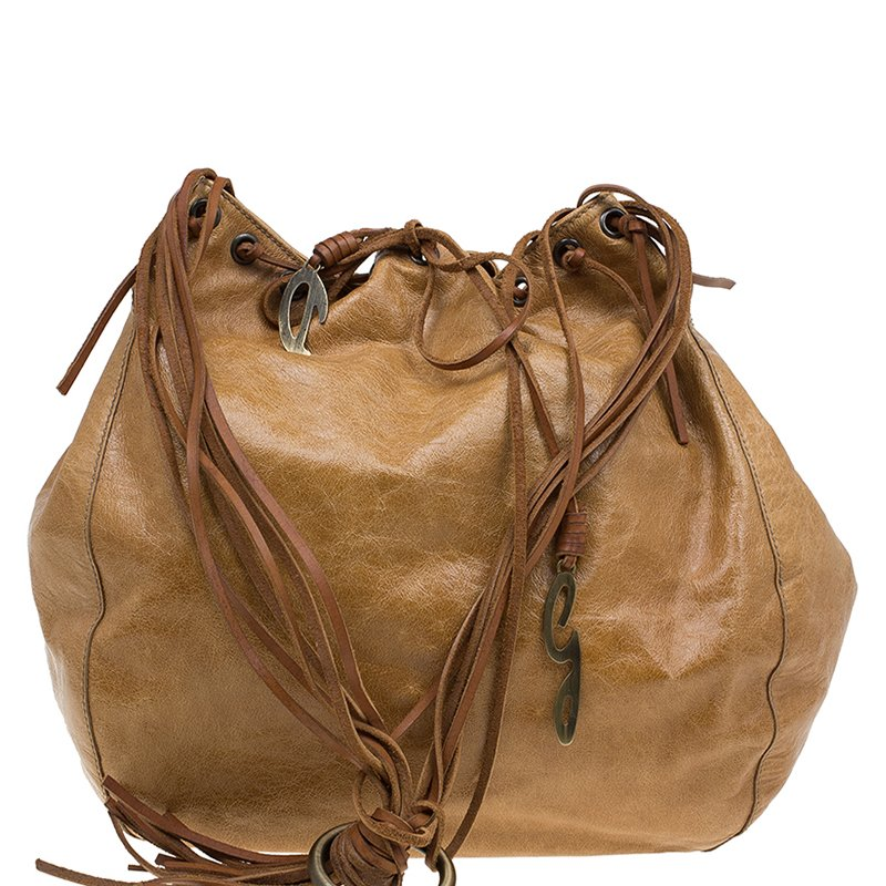 Dolce and Gabbana Brown Leather Fringe Charm Bucket Hobo