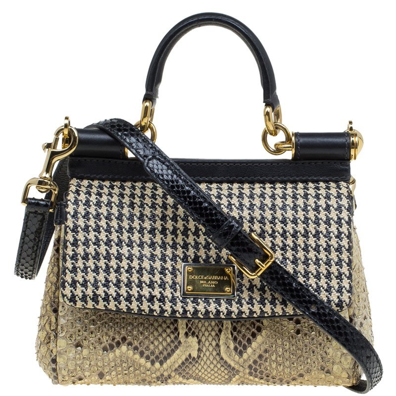113ed20cb2e5 ... Dolce and Gabbana Beige Raffia and Python Small Miss Sicily Top Handle  Bag. nextprev. prevnext