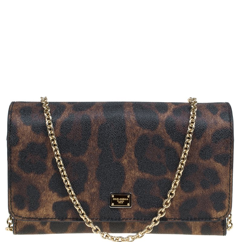 6ec9cbdc816 Buy Dolce and Gabbana Leopard Print Leather Nina Clutch Bag 80182 at ...