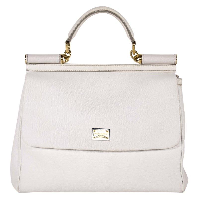 1c3402918f4 ... Dolce and Gabbana White Leather Medium Miss Sicily Tote. nextprev.  prevnext