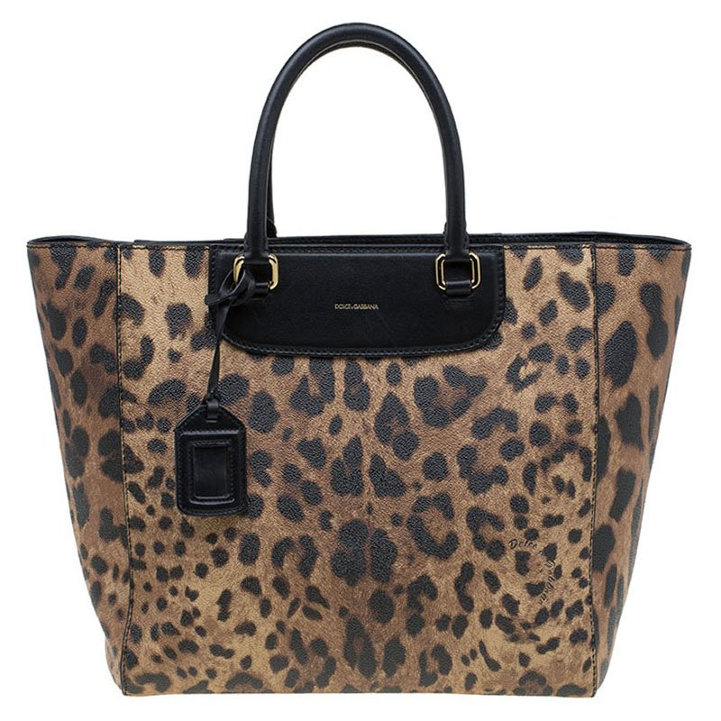 ... Dolce and Gabbana Black Leopard Print Leather Lucia Shopper Tote.  nextprev. prevnext ae10f1fd3dfbe