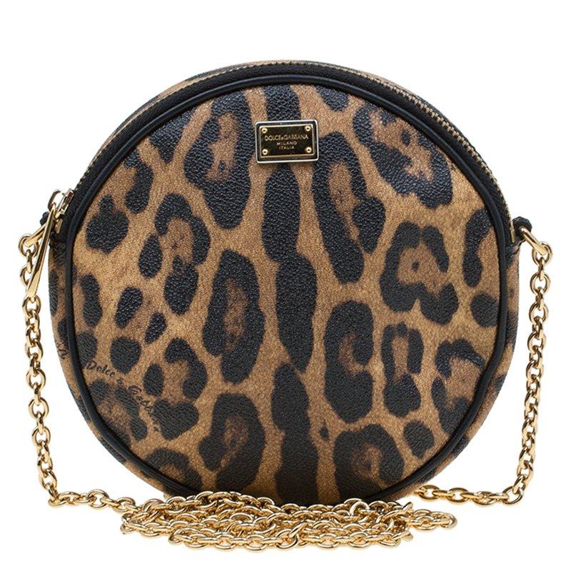 ce50133400 ... Dolce and Gabbana Leopard Print Canvas Glam Round Shoulder Bag.  nextprev. prevnext