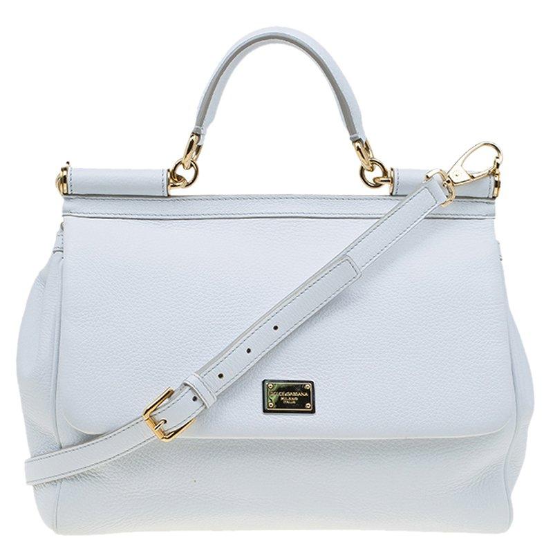 ae83b7b0a8a ... Dolce and Gabbana White Leather Medium Miss Sicily Top Handle Bag.  nextprev. prevnext