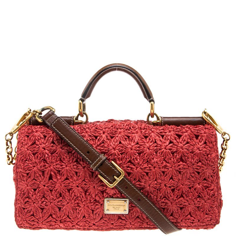 304204c31470 ... Dolce and Gabbana Red Crochet Raffia Miss Sicily Shoulder Bag.  nextprev. prevnext