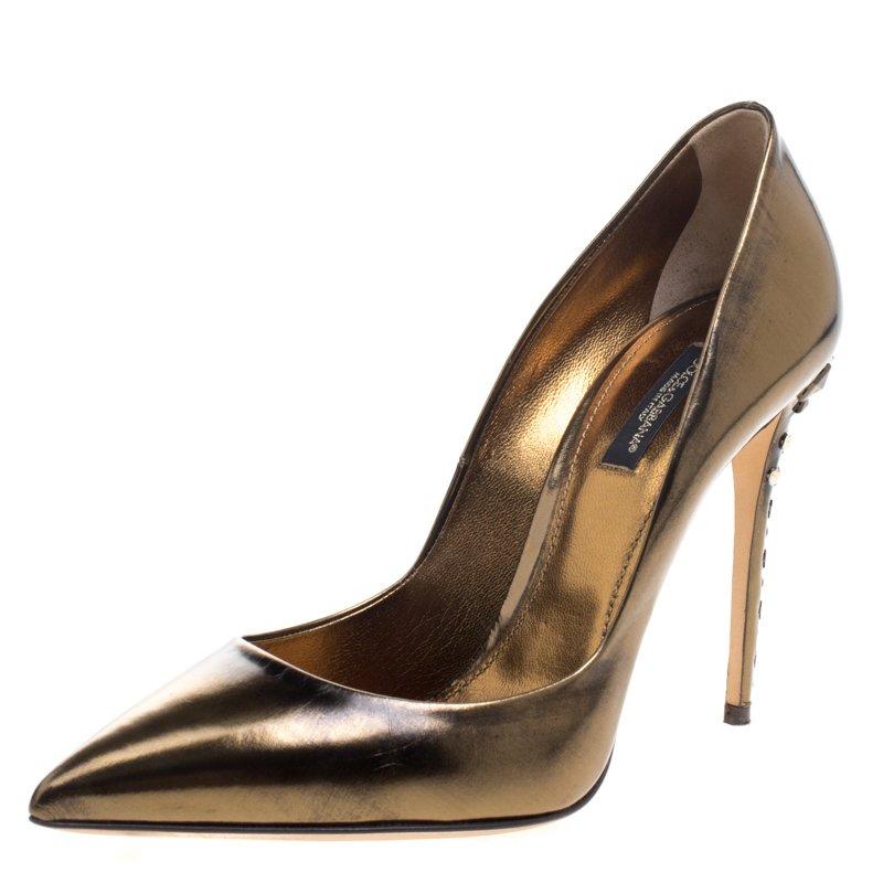 b07245d5fc ... Bronze Metallic Leather Studded Heel Pointed Toe Pumps Size 39.  nextprev. prevnext