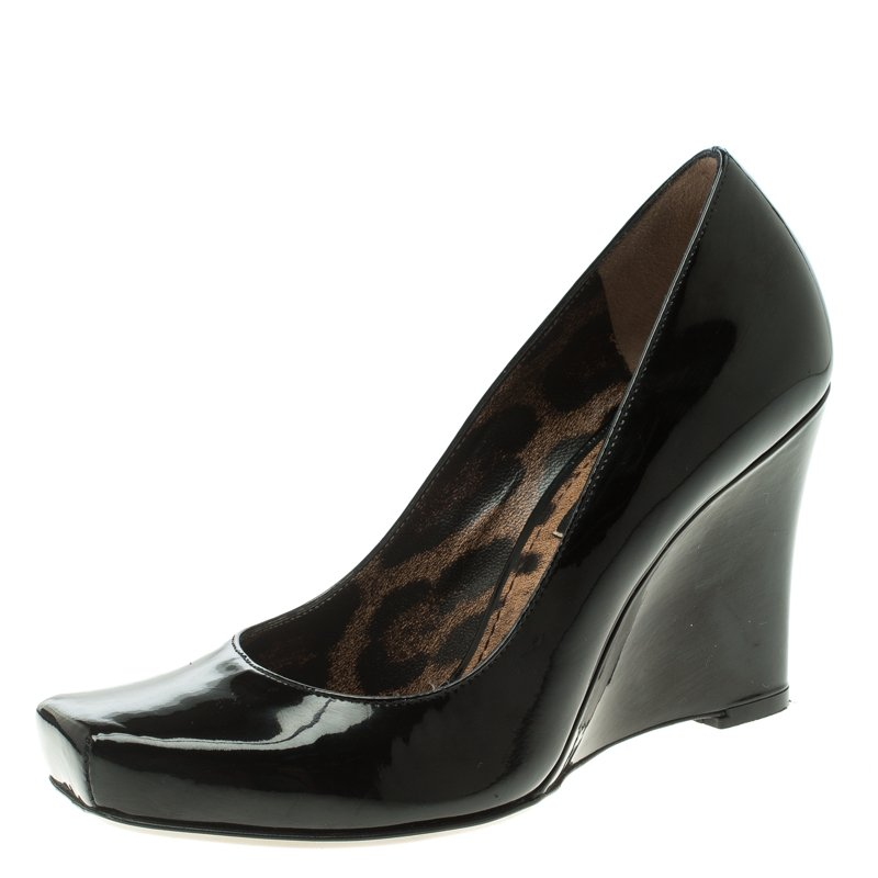 Dolce and Gabbana Black Patent Leather Square Toe Wedge Pumps Size 35