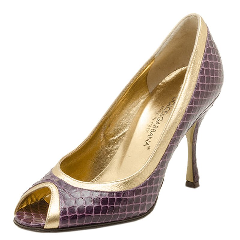 Buy Dolce and Gabbana Purple and Gold Embossed Peep Toe Pumps Size ... f01168538
