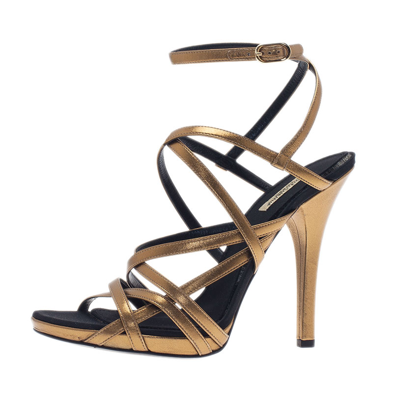 45e60939f88 Dolce and Gabbana Gold Leather Strappy Platform Sandals Size 40.5