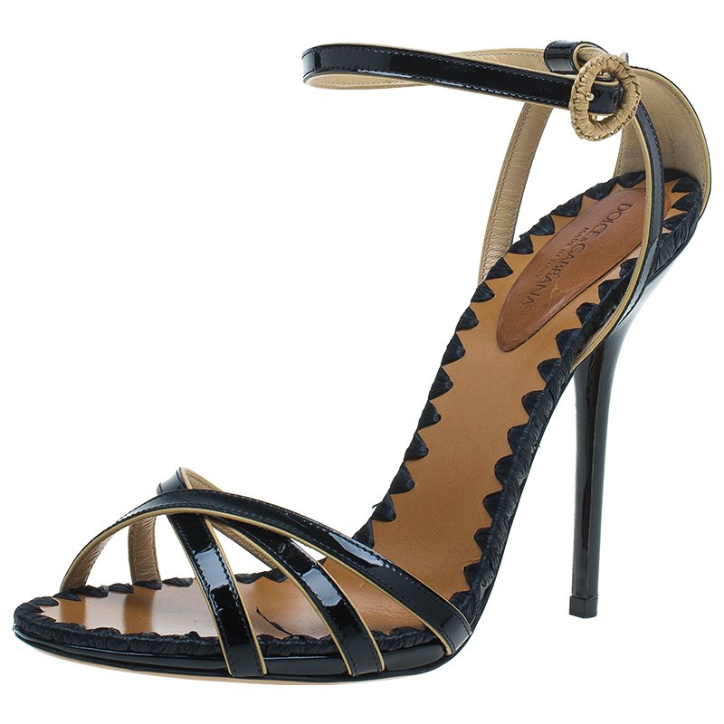 Dolce and Gabbana Black Patent Ankle Strap Sandals Size 40.5