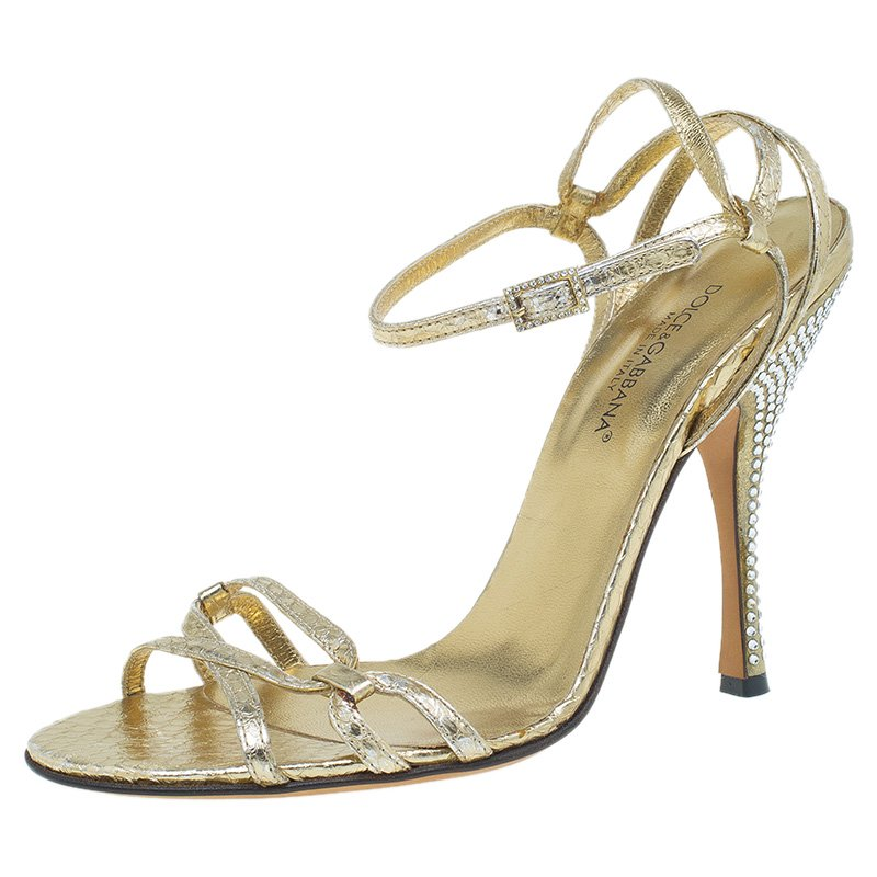 a62a23d0d95 Dolce and Gabbana Metallic Gold Leather Strappy Crystal Embellished Sandals  Size 39