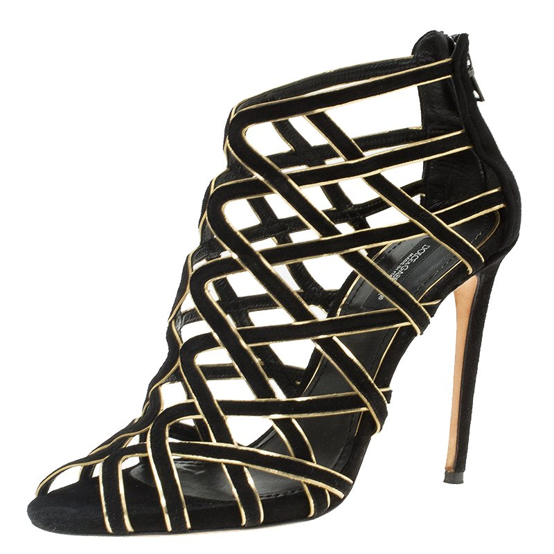 e9c39643691 Dolce and Gabbana Black Suede and Gold Leather Strappy Sandals Size 38