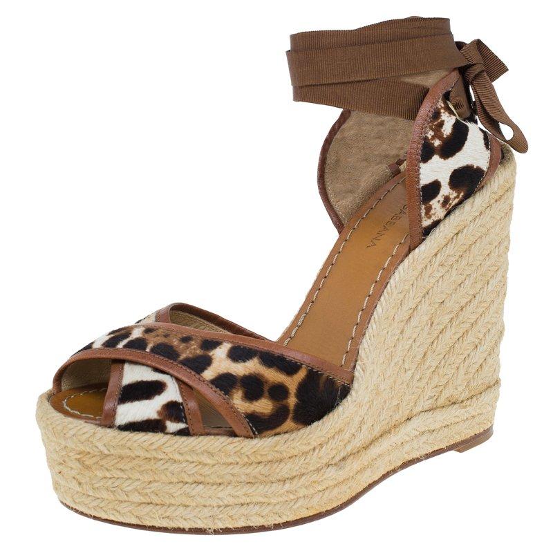 ea053b3e340 ... Leopard Pony Hair and Leather Ankle Wrap Espadrille Wedges Size 38.  nextprev. prevnext