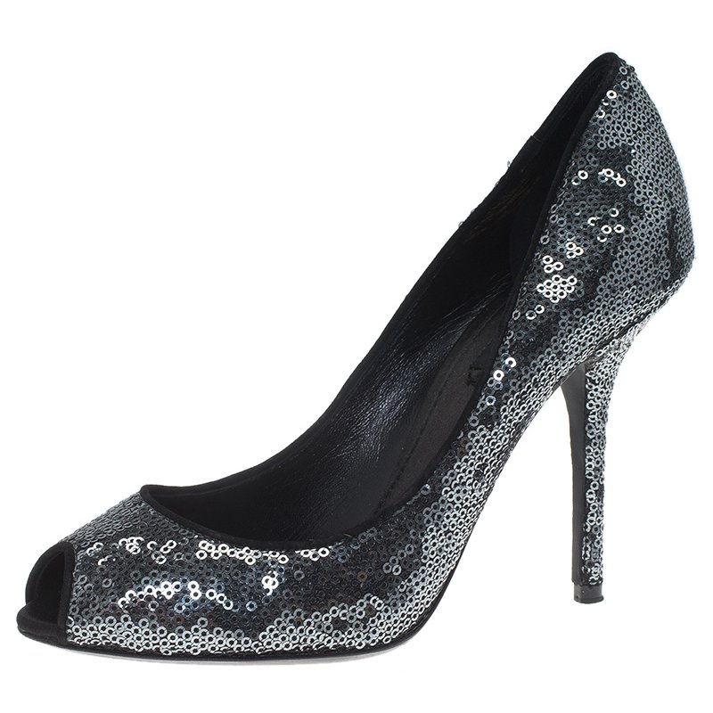 f151a5232b6 Dolce and Gabbana Silver Sequins Peep Toe Pumps Size 38