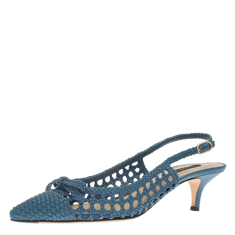Dolce and Gabbana Blue Woven Leather Bellucci Slingback Sandals Size 38.5
