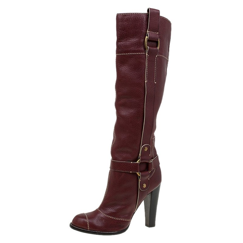f2eff16ff ... Dolce and Gabbana Burgundy Leather Riding Knee Boots Size 38.5.  nextprev. prevnext