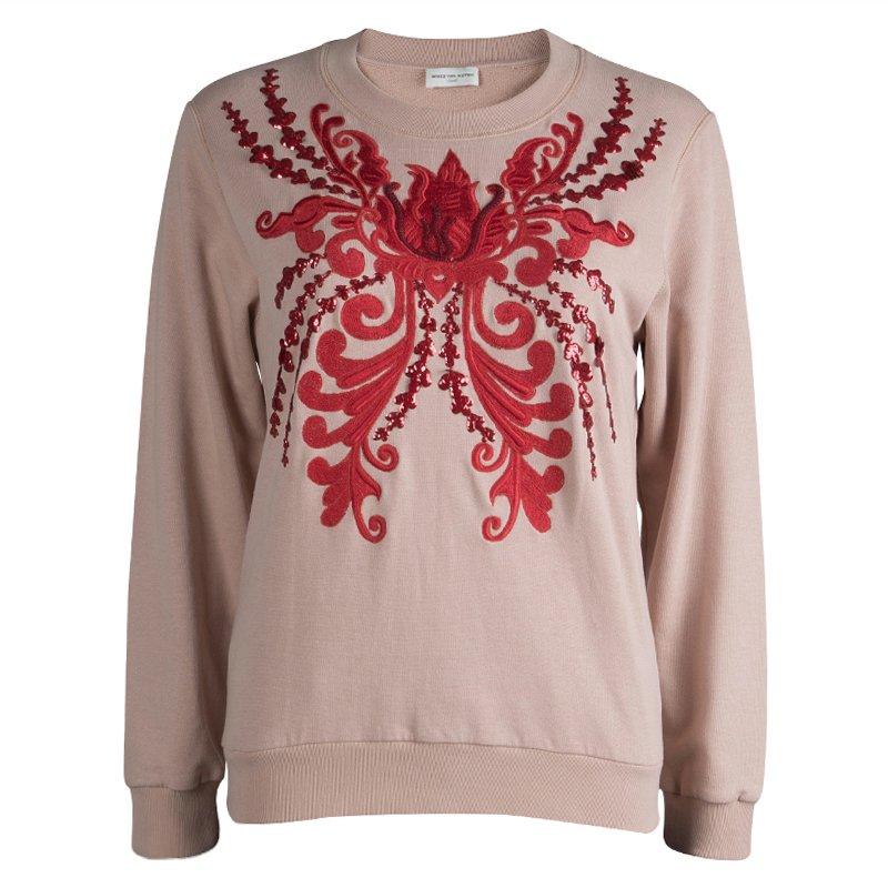 Dries Van Noten Pastel Pink Embroidered Embellished Sweatshirt S