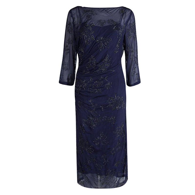 Dries Van Noten Navy Blue Embellished Draped Dress M