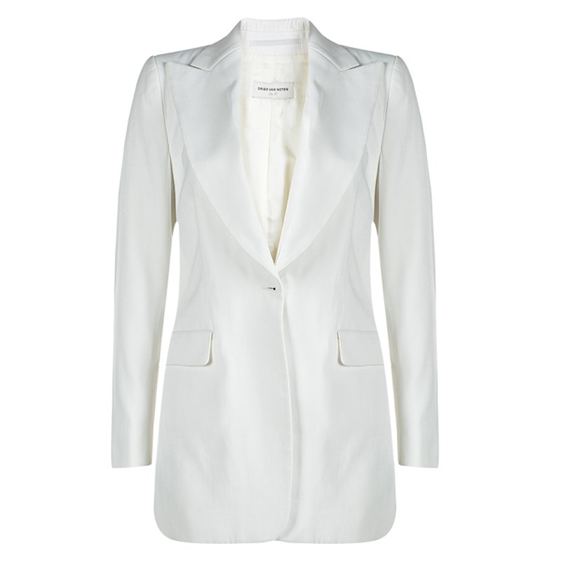 Dries Van Noten Off White Snap Button Closure Blazer S