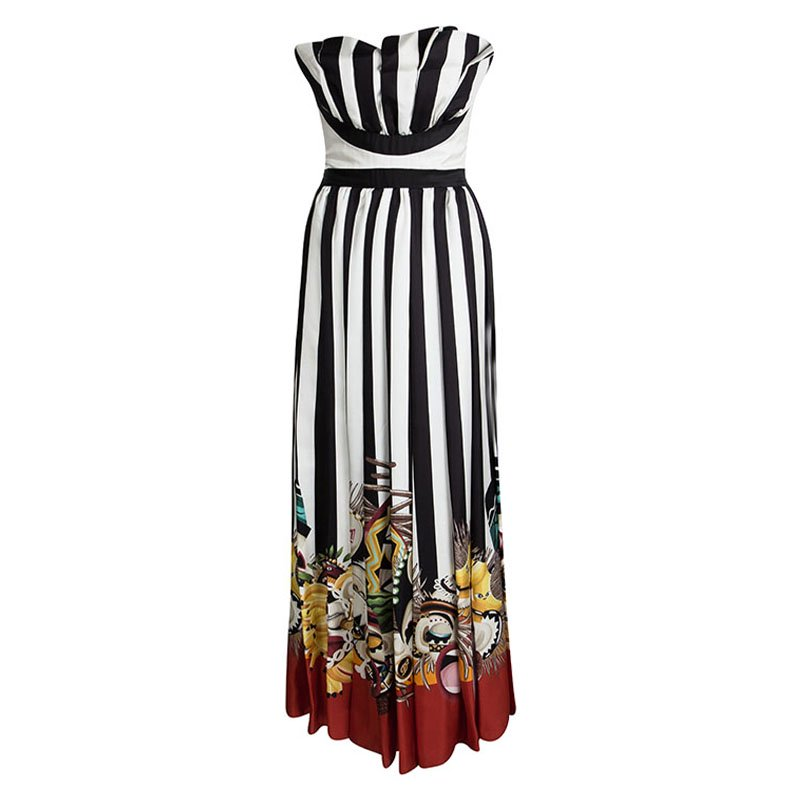619bfc0f653 Buy Dsquared2 Tribal Couture Printed Striped Silk Strapless Maxi ...