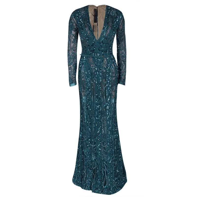 6d971de66891 Buy Elie Saab Teal Blue Embellished Long Sleeve Plunge Neck Gown S ...