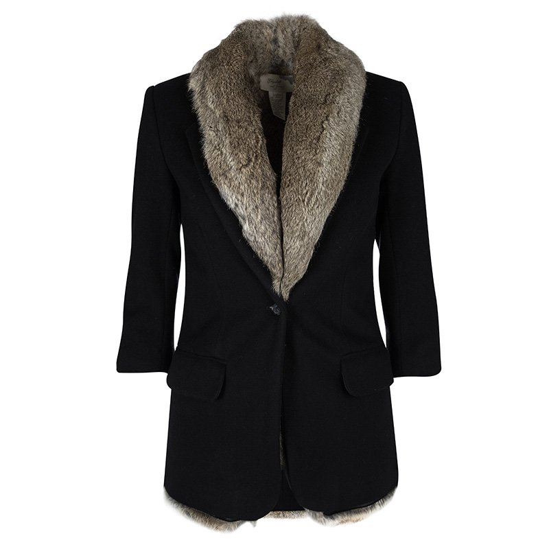 44c1d4006943 Buy Elizabeth and James Black Wool Rabbit Fur Lined Coat XS 105439 ...
