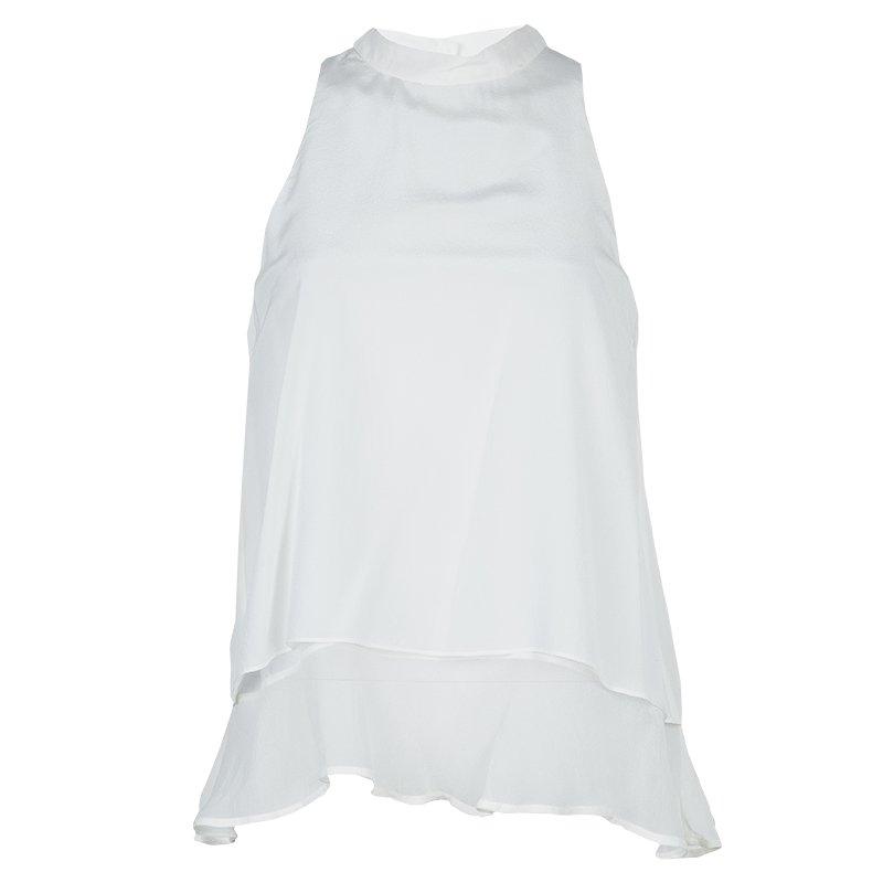 Elizabeth and James White Mandarin Collar Sleeveless Silk Blouse S