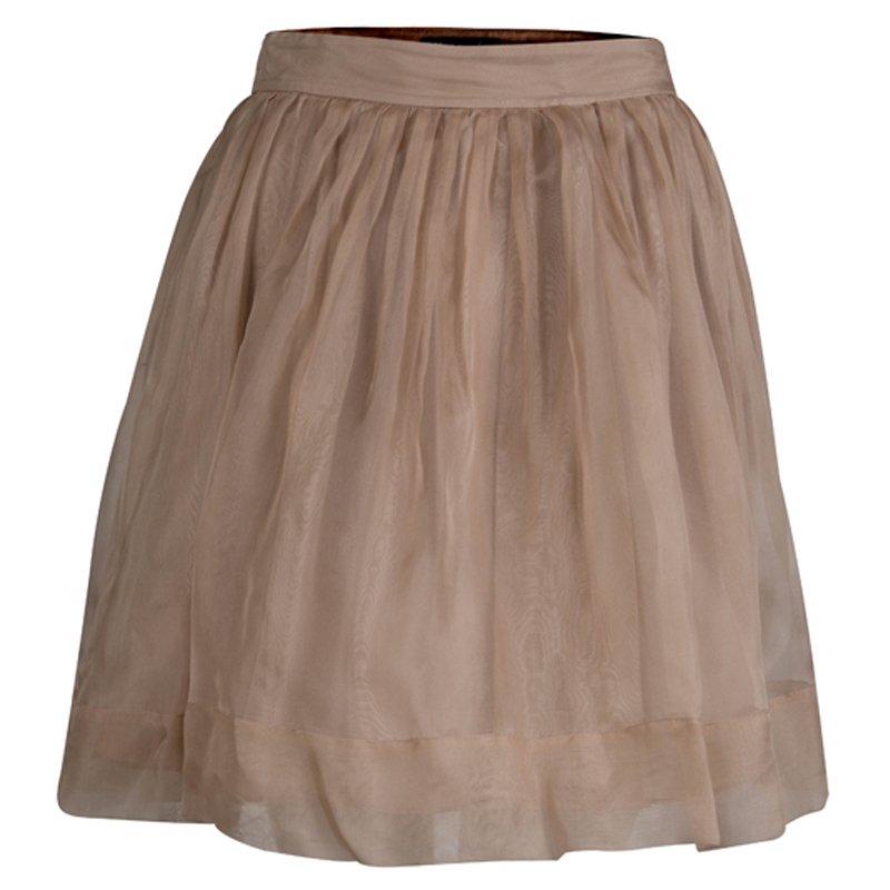 Elizabeth and James Beige Silk Gathered Skirt S