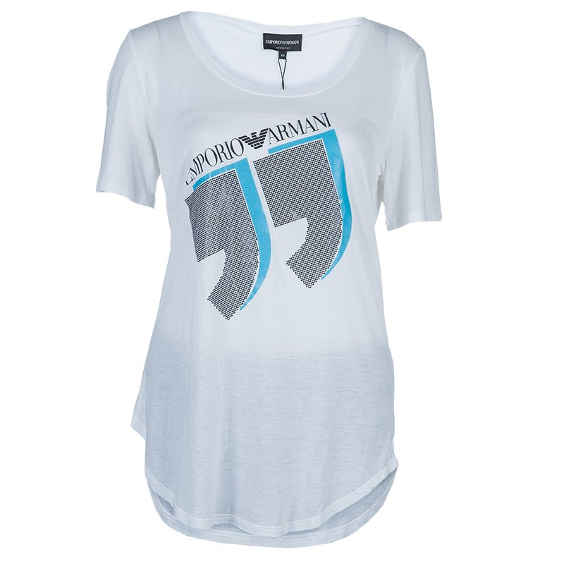 386afa1493 Buy Emporio Armani White Studded Logo T-Shirt L 61118 at best price ...