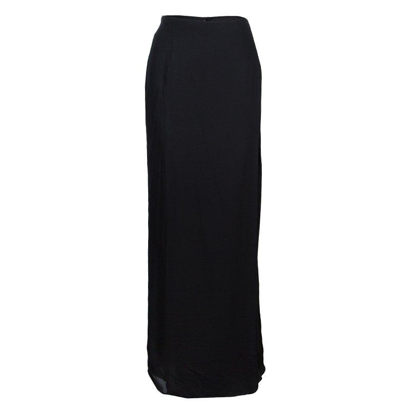 cheapest price amazing quality cheapest Emporio Armani Black Silk Maxi Skirt M