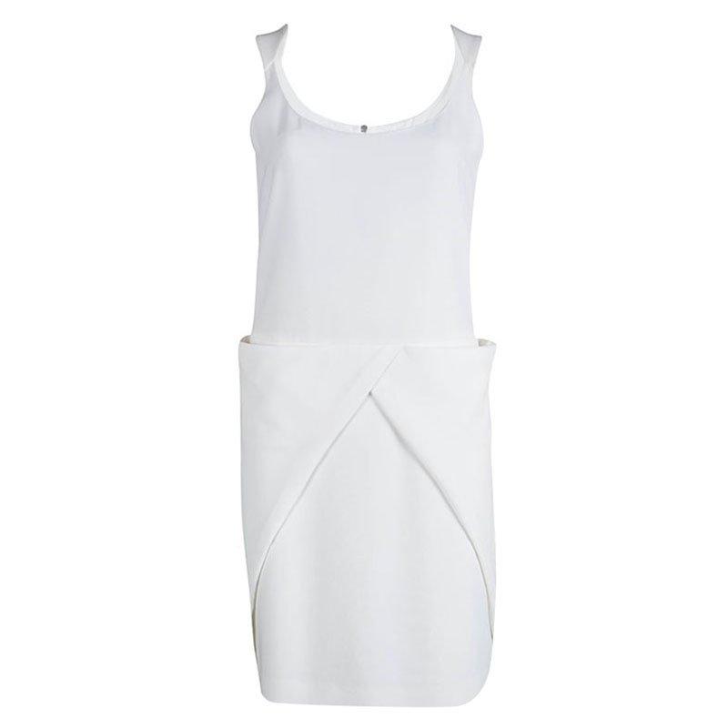 Emporio Armani White Draped Pocket Detail Sleeveless Dress M