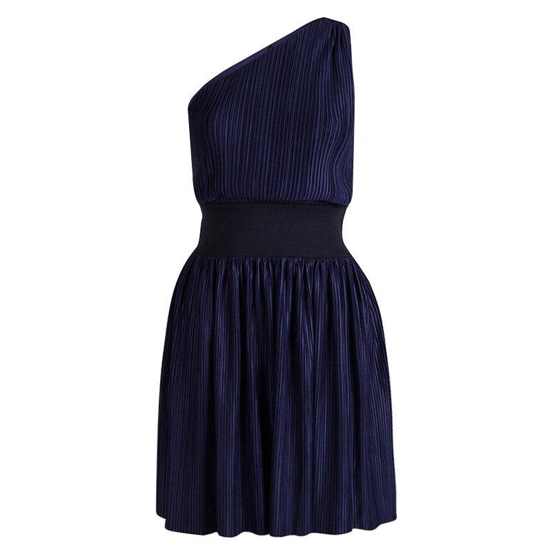 Emporio Armani Navy Blue Plisse One Shoulder Dress S