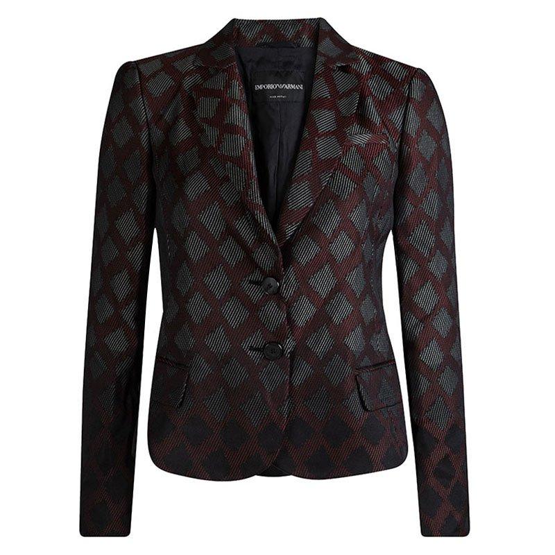 Emporio Armani Burgundy Textured Jacquard Blazer M