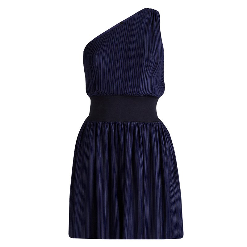 Emporio Armani Navy Blue Plisse One Shoulder Dress M