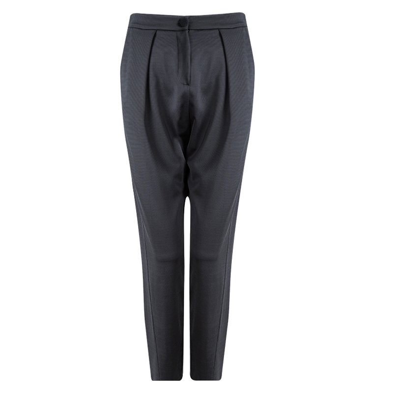 Emporio Armani Grey High Waist Regular Fit Trousers M