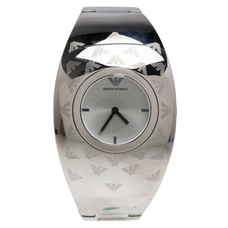 c8304f38 Emporio Armani Silver Etched Logo Stainless Steel AR-5785 Women's Cuff  Bracelet Wristwatch 35MM