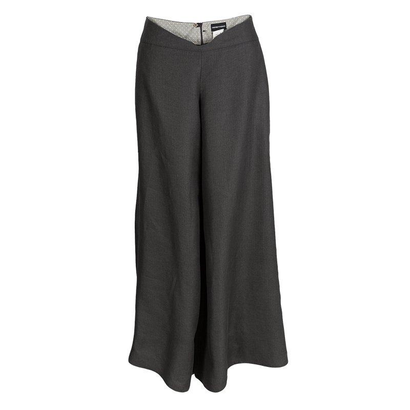 5cfa11670a Emporio Armani Grey Linen High Waist Wide Leg Pants M