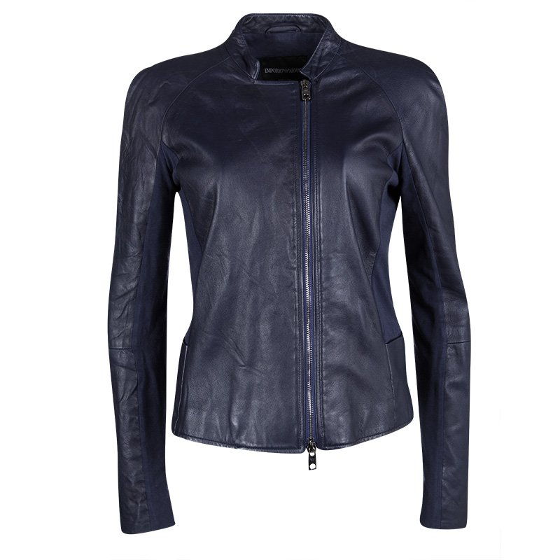 497922104 Emporio Armani Navy Blue Lamb Leather Knit Panel Detail Jacket M