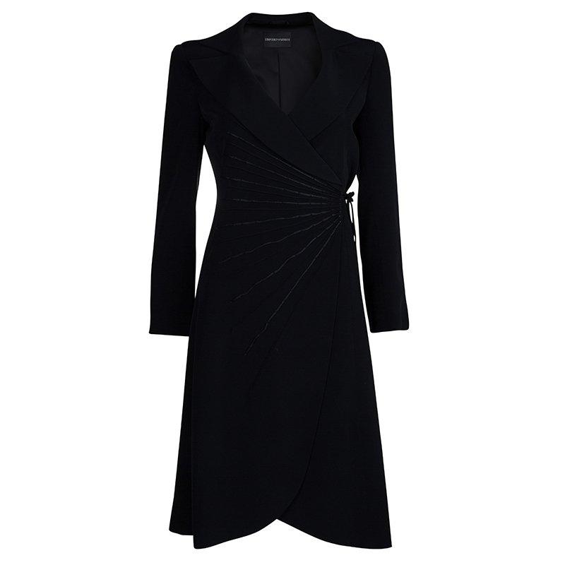 Emporio Armani Black Yarn Embroidered Side Tie Detail Long Blazer S