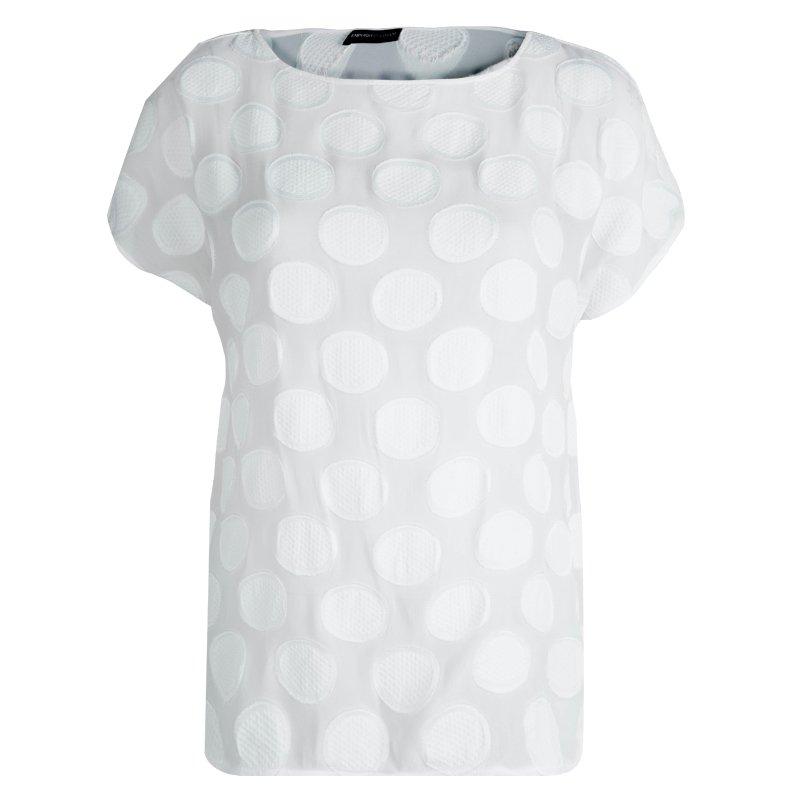 52eaa7a743b479 Buy Emporio Armani White Polka Dot Chiffon Jacquard Short Sleeve Top ...